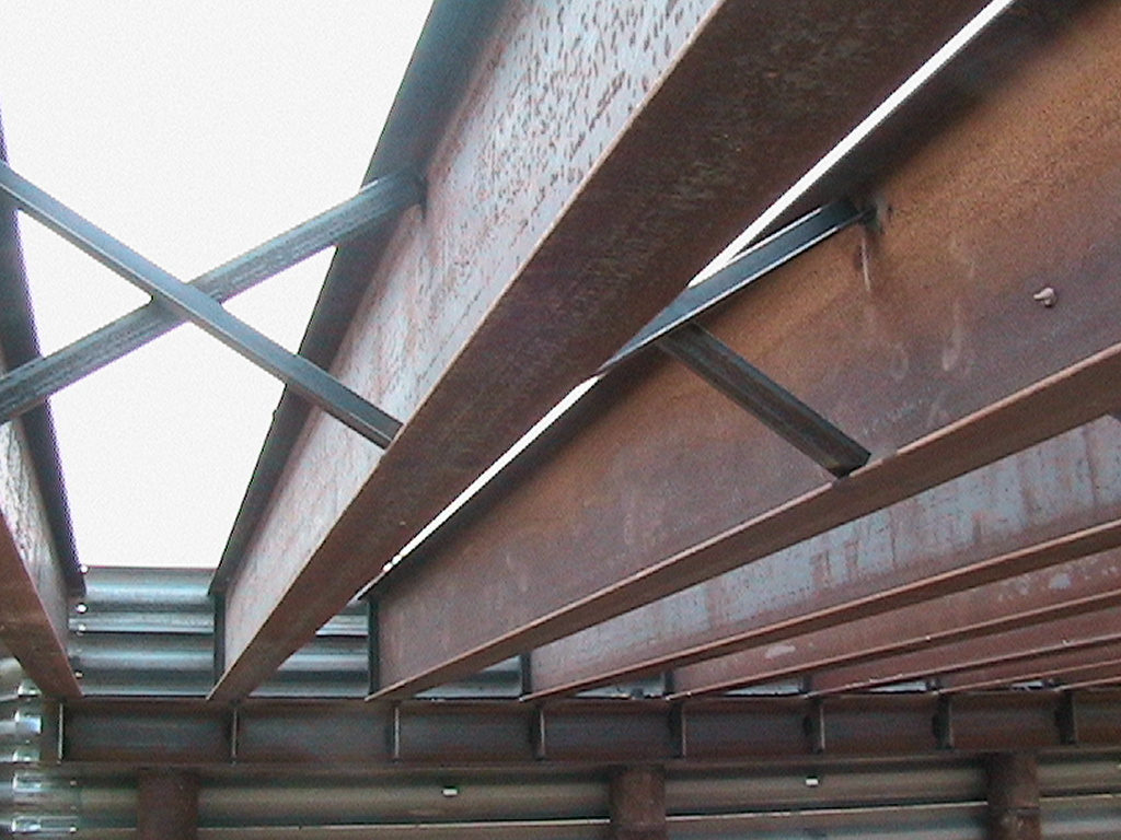 View of the beams from underneath the bridge